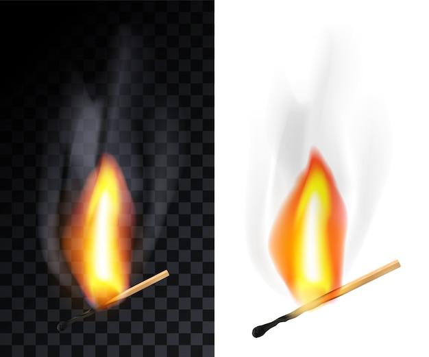 Match stok branden met rook, geïsoleerd op transparantieraster en wit