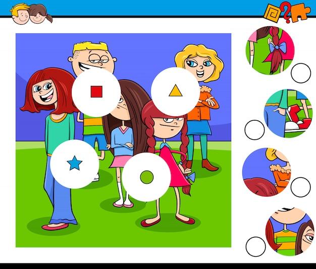 Match stukjes puzzel met kindergroep