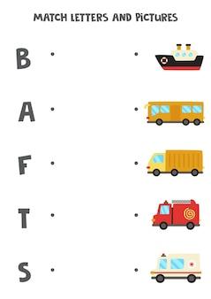 Match vervoer en brieven. educatief logisch spel voor kinderen. werkblad woordenschat.