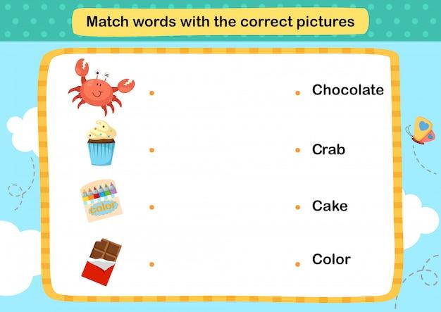 Match woorden met de juiste afbeeldingen illustratie,