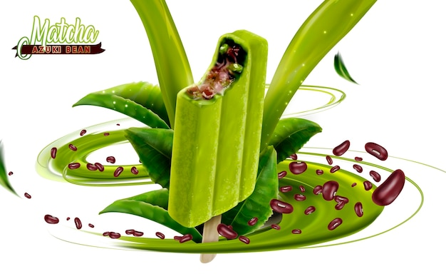 Matcha azuki bonen ijs bar advertenties illustratie