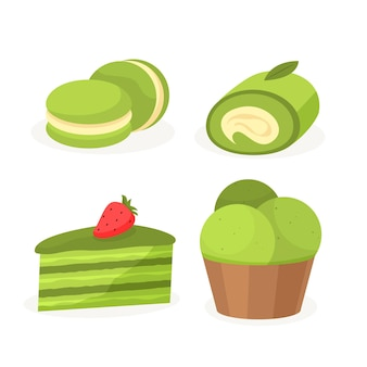 Matcha-collectie met ijs en zoete desserts