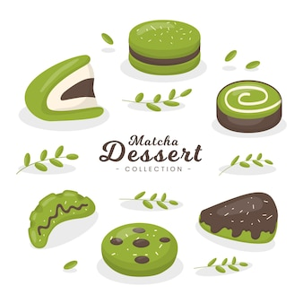 Matcha dessert collectie concept