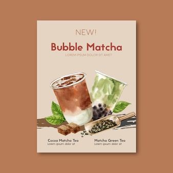 Matcha en bruine suiker bubbel melk thee set, poster advertentie, sjabloon folder, aquarel illustratie