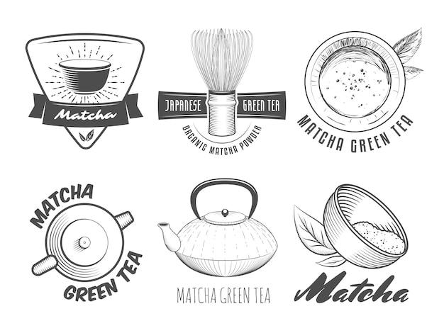 Matcha-etiketten. japanse groene theekentekens en emblemen