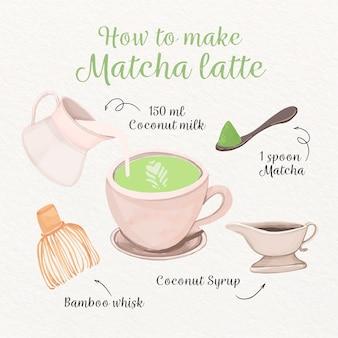 Matcha latte maken