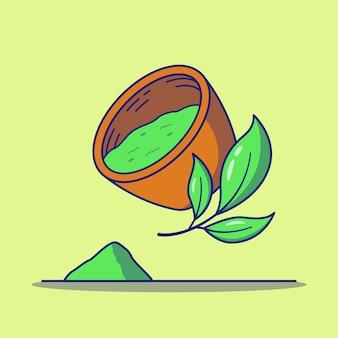 Matcha of groene theepoeder in een kom en theebladeren
