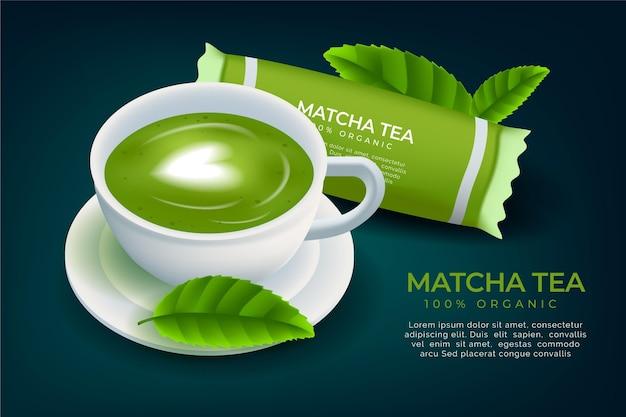 Matcha-thee-advertentie in realistische stijl