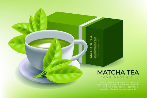 Matcha-thee-advertentie met realistisch ontwerp