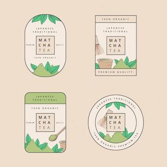 Matcha thee badges illustratie set