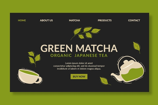 Matcha-thee-bestemmingspagina-sjabloon