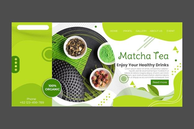 Matcha-thee-bestemmingspagina-sjabloonontwerp