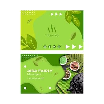 Matcha thee dubbelzijdig horizontaal visitekaartje sjabloon Premium Vector