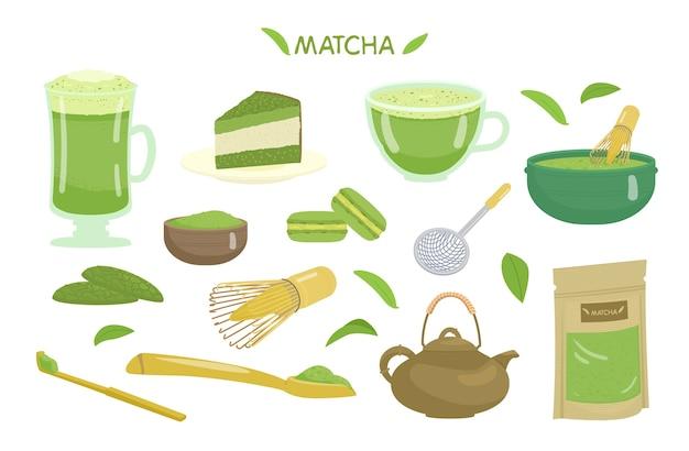 Matcha thee en desserts vector set.