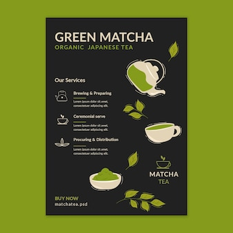Matcha thee flyer verticale sjabloon