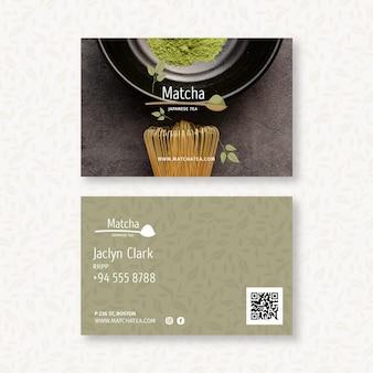 Matcha thee horizontaal dubbelzijdig visitekaartje