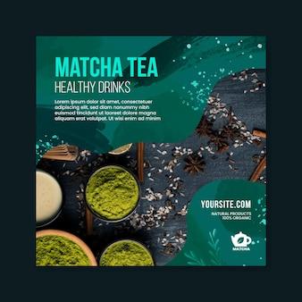 Matcha thee kwadraat flyer-sjabloon