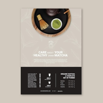 Matcha thee poeder poster sjabloon