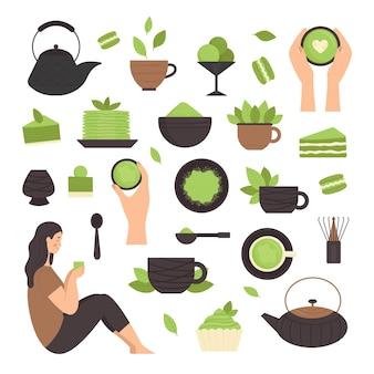 Matcha-thee, set elementen. japanse traditionele theeceremonie. groene thee, gezonde voeding, desserts, kopjes, theepotten. illustratie in vlakke stijl