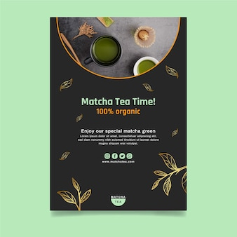 Matcha thee verticale flyer-sjabloon