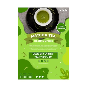 Matcha thee verticale poster sjabloon