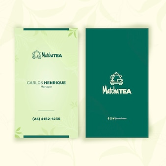 Matcha thee verticale visitekaartjesjabloon