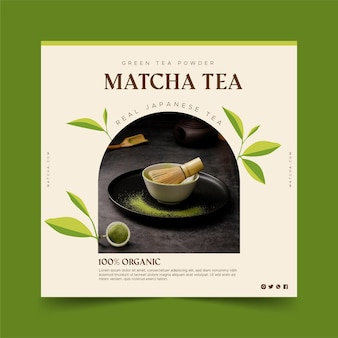 Matcha thee vierkante flyer-sjabloon