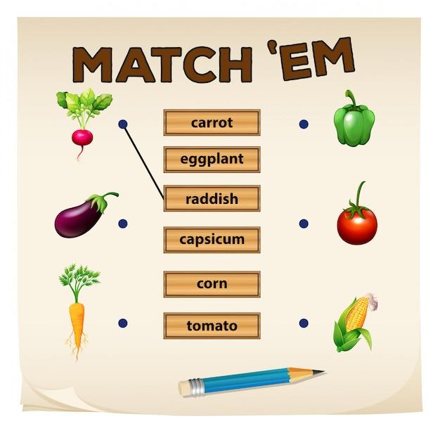 Matching game met verse groenten