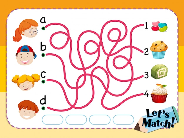 Matching game sjabloon met kinderen en desserts