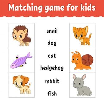 Matching game voor kinderen. vind het juiste antwoord. teken een lijn.