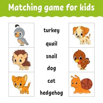 Matching game voor kinderen. vind het juiste antwoord.