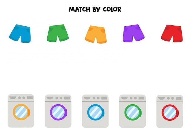 Matching game voor kinderen. wasmachine en korte broek op kleur.