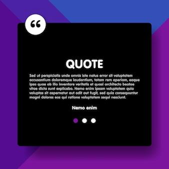 Materiaal ontwerpstijl violette achtergrond en offerte rechthoek met voorbeeldtekst informatie vector illustratie sjabloon.