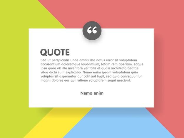 Materiaalontwerpstijl achtergrond en citaatrechthoek met voorbeeldtekst-informatiesjabloon