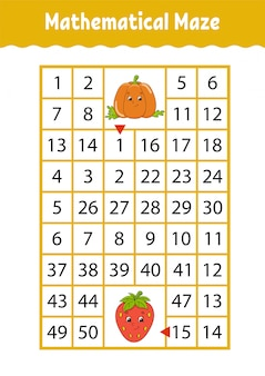 Math doolhof. spel voor kinderen. grappig labyrint. onderwijs ontwikkelt werkblad.
