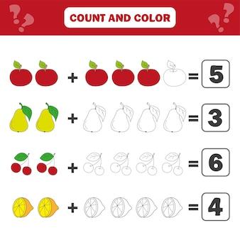 Math educatief spel voor kinderen. vergelijkingen tellen. werkblad optellen - tellen en kleuren