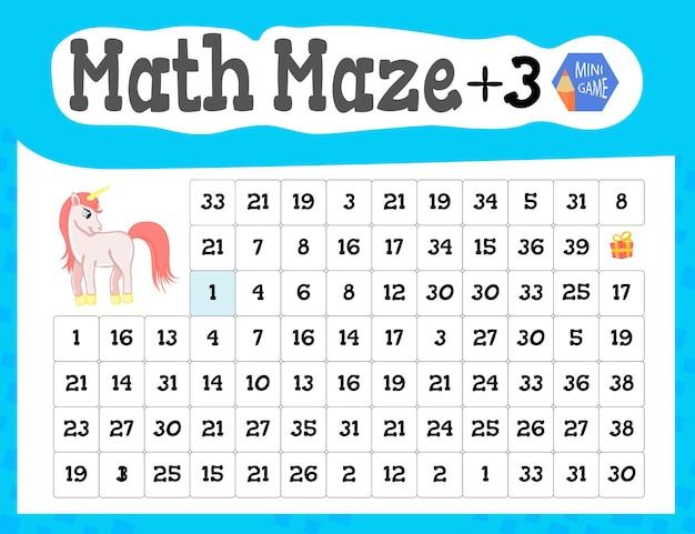 Math maze is een minispel voor kinderen. cartoon-stijl. vector illustratie.