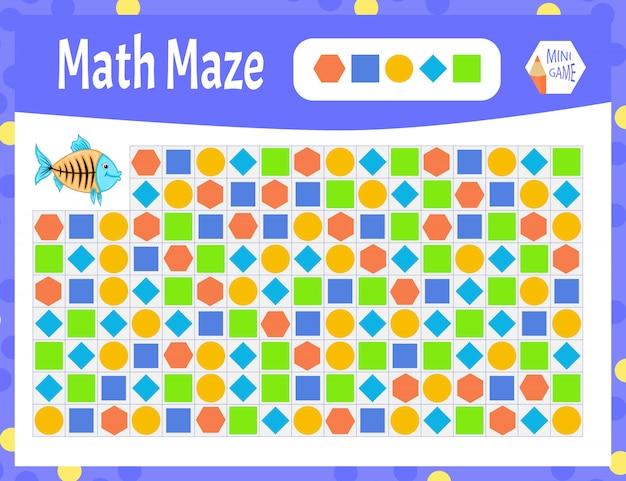 Math maze is een minispel voor kinderen. cartoon stijl.