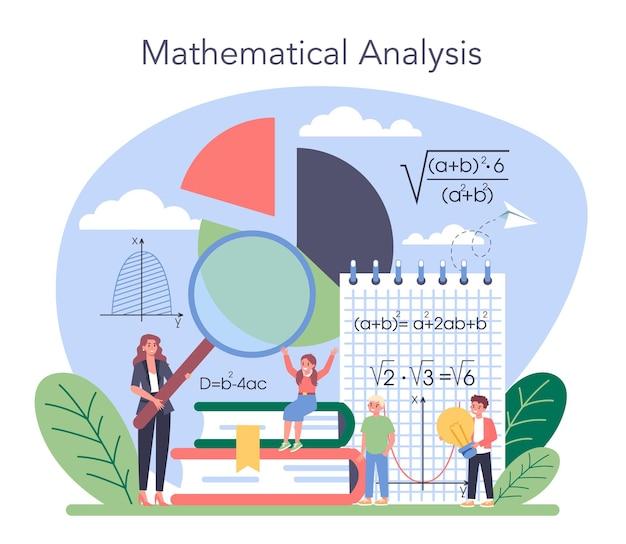 Math schoolvak. wiskunde leren, idee van onderwijs en kennis. wetenschap, technologie, techniek, wiskundeonderwijs.