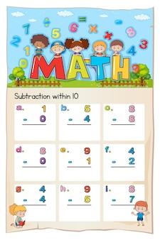 Math-werkblad voor aftrekken binnen tien