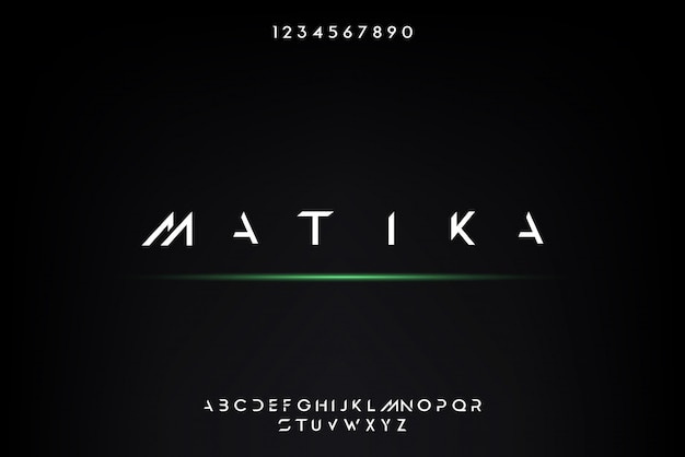 Matika, een abstract futuristisch alfabetlettertype met technologiethema. modern minimalistisch typografieontwerp