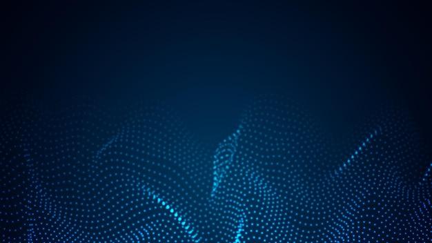 Matrix van deeltjes die over een donkere achtergrond stromen. mesh glanzende ronde stippen. abstracte golfachtergrond