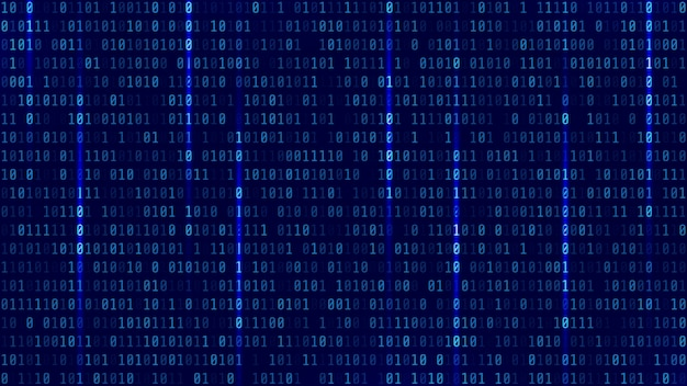 Matrixachtergrond met blauw licht. binaire computercode. vector