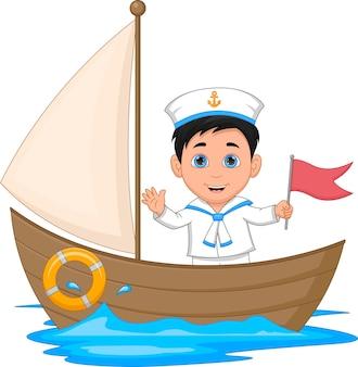 Matroos jongen zwaaien cartoon op een houten boot