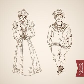 Matroos man dame vrouw kleding accessoire dragen singlet jurk hoed pictogramserie.