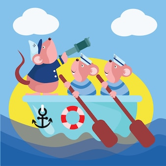 Matroos muis cartoon afbeelding