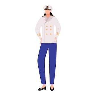 Matroos vlakke afbeelding. seawoman in kapitein uniform. maritieme academie. marine bezetting. zeevaarder geïsoleerde stripfiguur op witte achtergrond