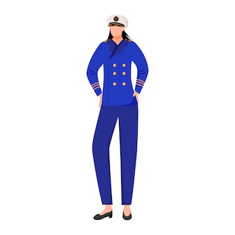 Matroos vlakke afbeelding. seawoman in kapitein uniform. navigator op passagiersvloot. marine bezetting. zeevaarder geïsoleerde stripfiguur op witte achtergrond
