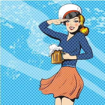 Matroos vrouw in pop-art stijl