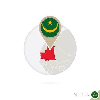Mauritanië kaart en vlag in cirkel. kaart van mauritanië, mauritanië vlag pin. kaart van mauritanië in de stijl van de wereld. vectorillustratie.